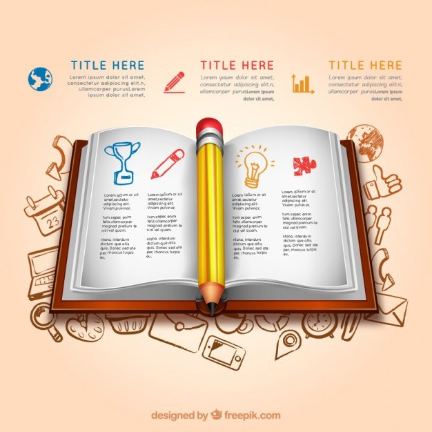 Education infographic with an open book