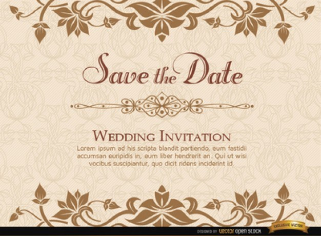 Elegant floristic wedding invitation card
