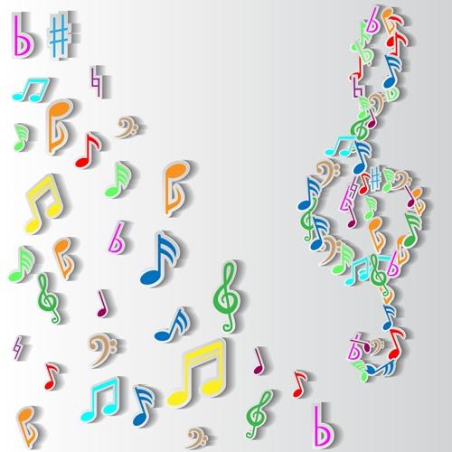 Elegant music note background vector set 05