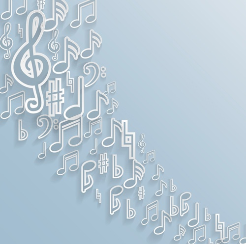 Elegant music note background vector set 01