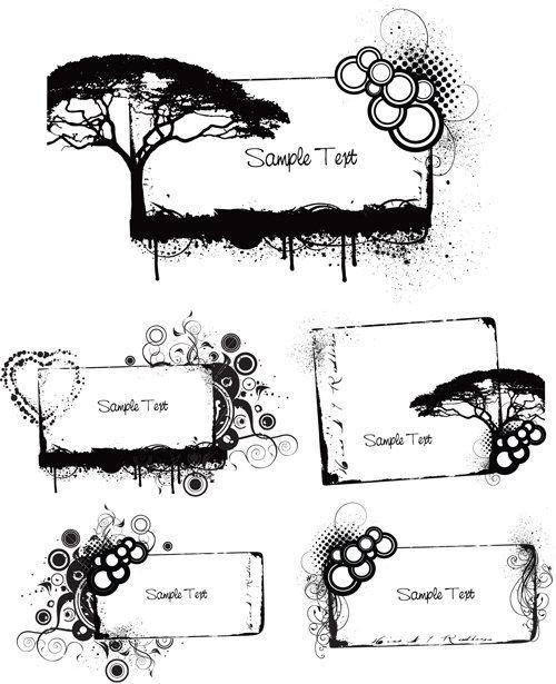 Elements of Grunge Floral vector set