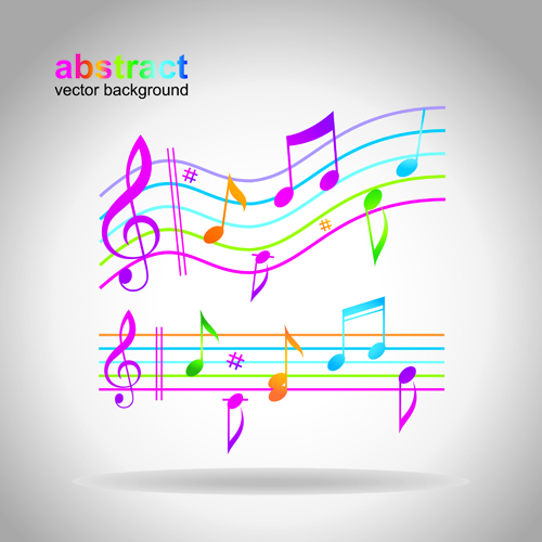 Elements of Sheet Music and Music design vector 03
