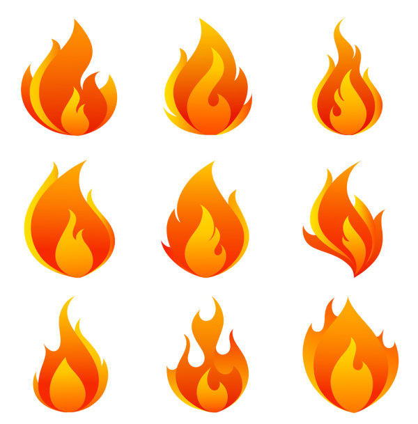 Elements of Vivid flame vector Icon 05
