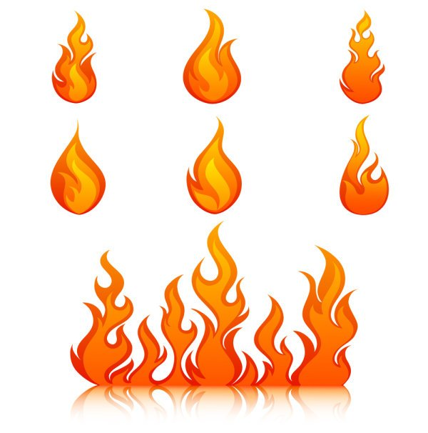 Elements of Vivid flame vector Icon 03