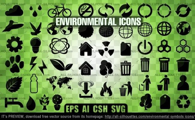 Environmental symbols icons