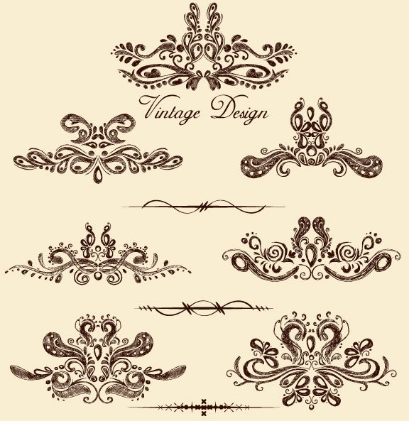 European style Decorative pattern Lacy vector 03