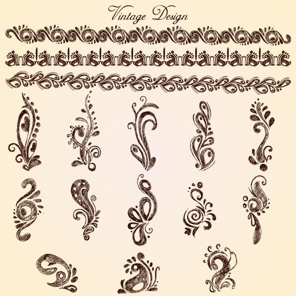 European style Decorative pattern Lacy vector 02