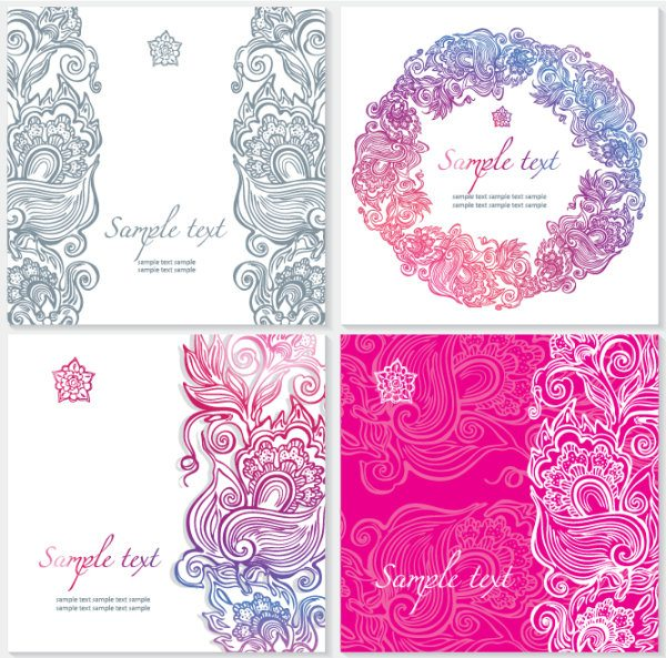 Exquisite Floral cards elements vector 02