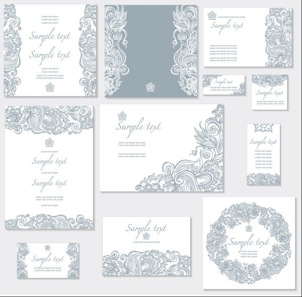 Exquisite Floral cards elements vector 01