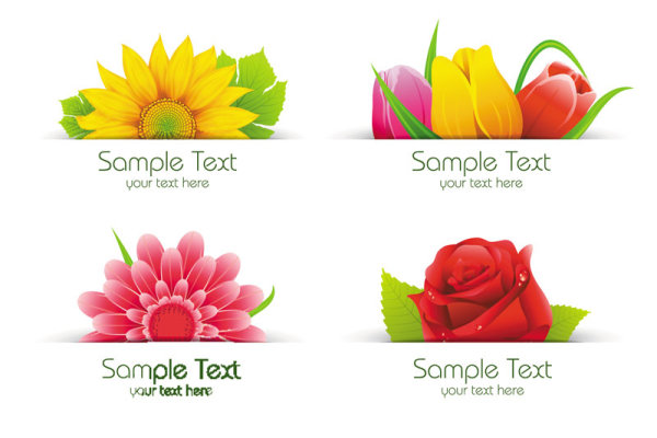 Exquisite with Flowers free vector 03