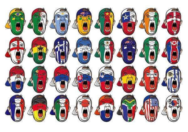 Face National flag Graffiti free vector