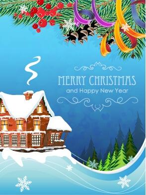 Fairytale christmas house vector material