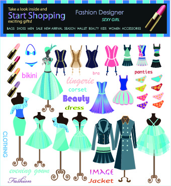 Fashion elements and clothing vector 02