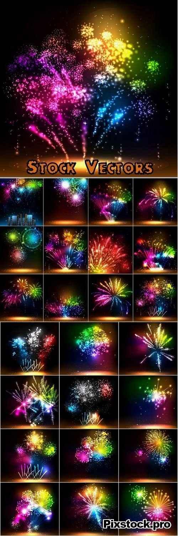 Fireworks Illustration set #2 – 25 Eps