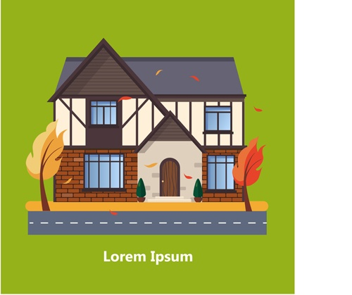 Flat style houses creative template vector set 16