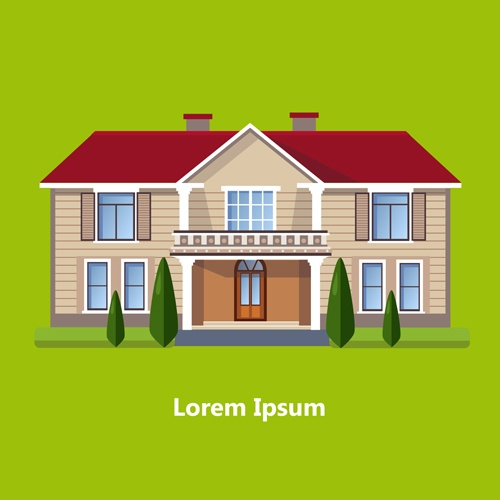 Flat style houses creative template vector set 14