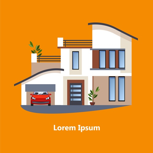 Flat style houses creative template vector set 13
