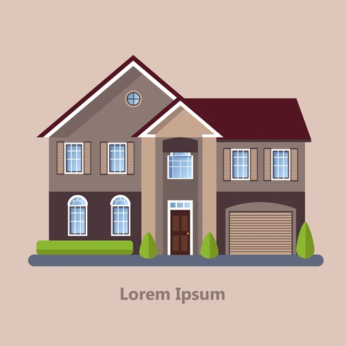Flat style houses creative template vector set 12
