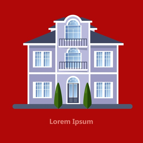 Flat style houses creative template vector set 07
