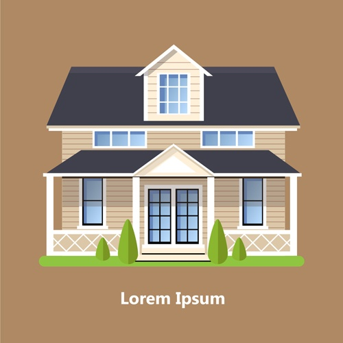 Flat style houses creative template vector set 06