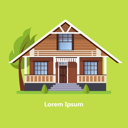 Flat style houses creative template vector set 04