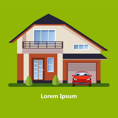 Flat style houses creative template vector set 03
