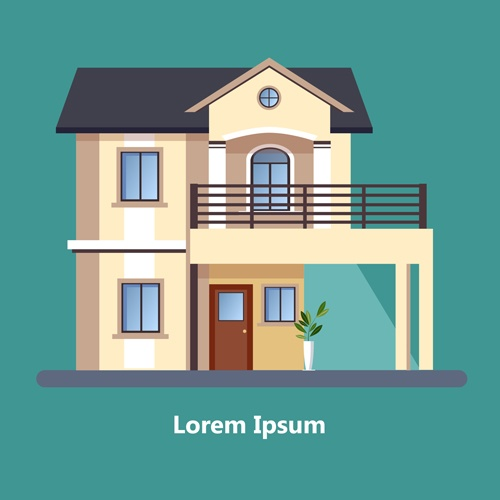 Flat style houses creative template vector set 01