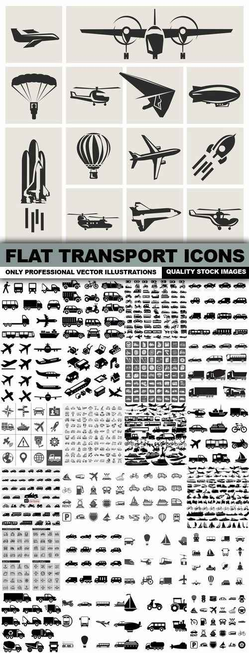 Flat Transport Icons – 25 Vector
