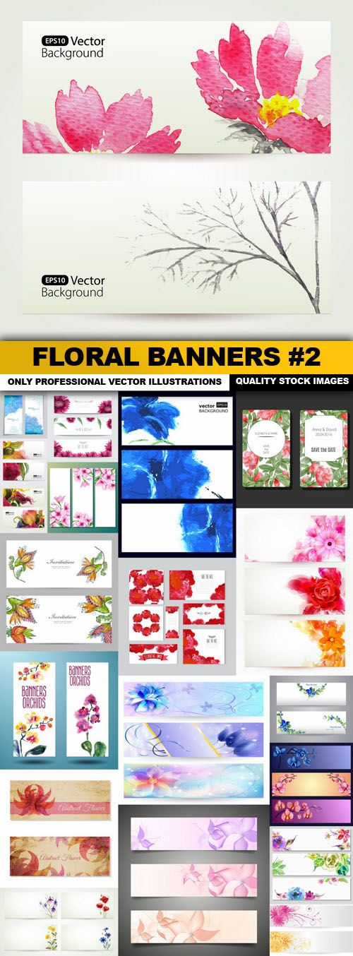 Floral Banners #2 – 20 Vector