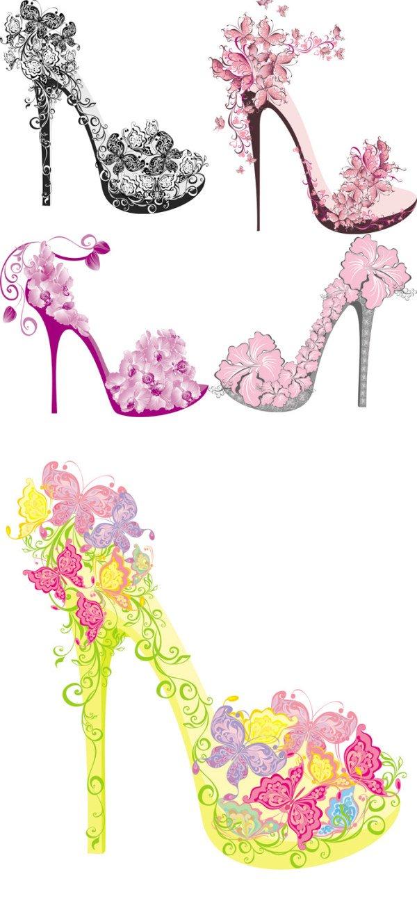 Floral high-heel shoe design vector