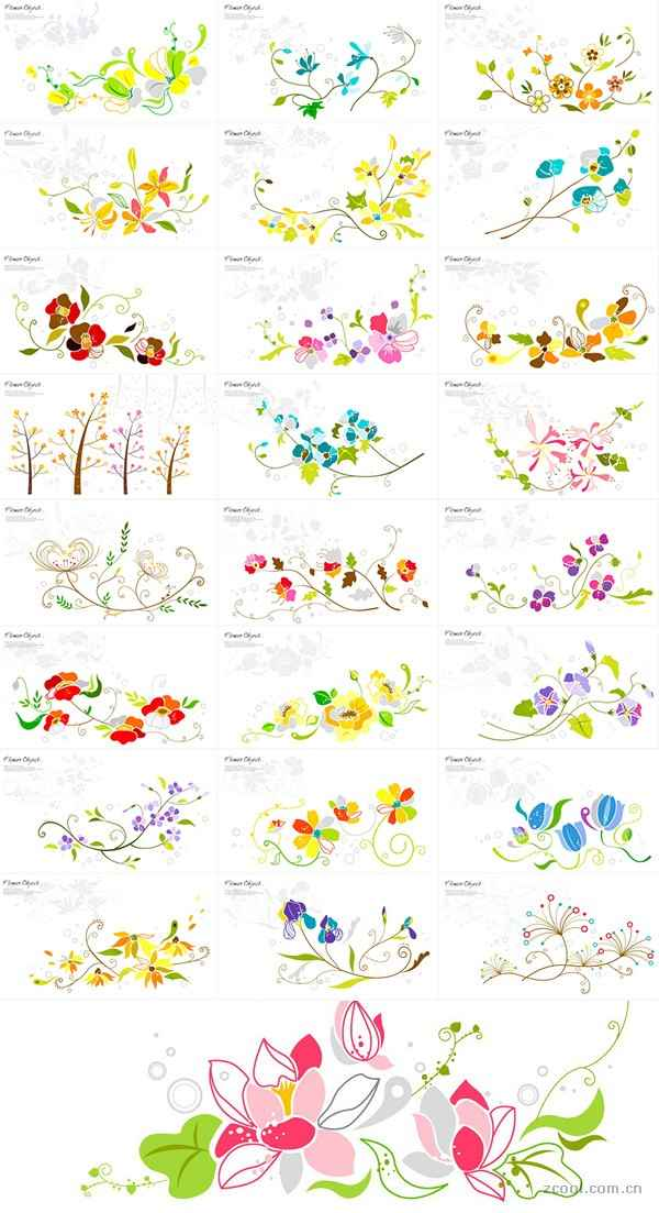 25 floral pattern vector material