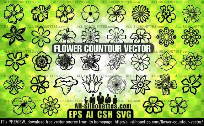 Flower contour vector