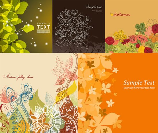 Flowers and plants background Vector