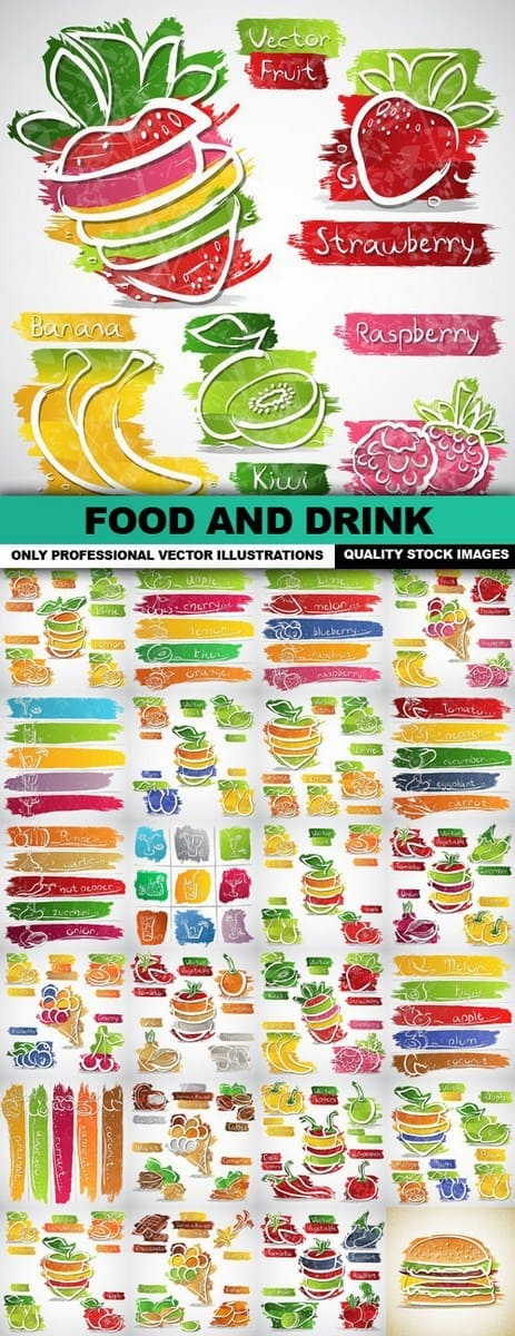 Food And Drink Design Elements – 25 Vector