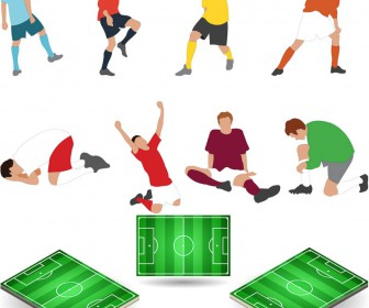 Footballer and football field vector