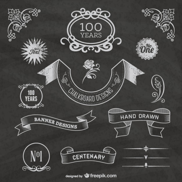 Free chalkboard centenary celebration   Vector | Free Download
