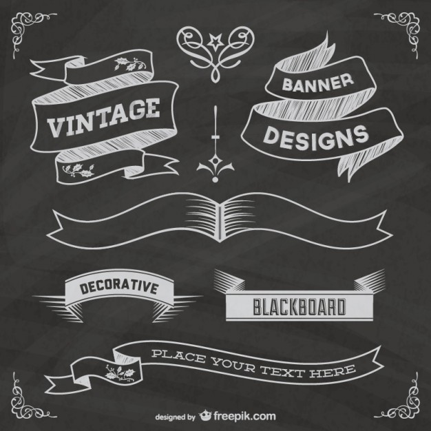 Free chalkboard grapic elements poster   Vector | Free Download
