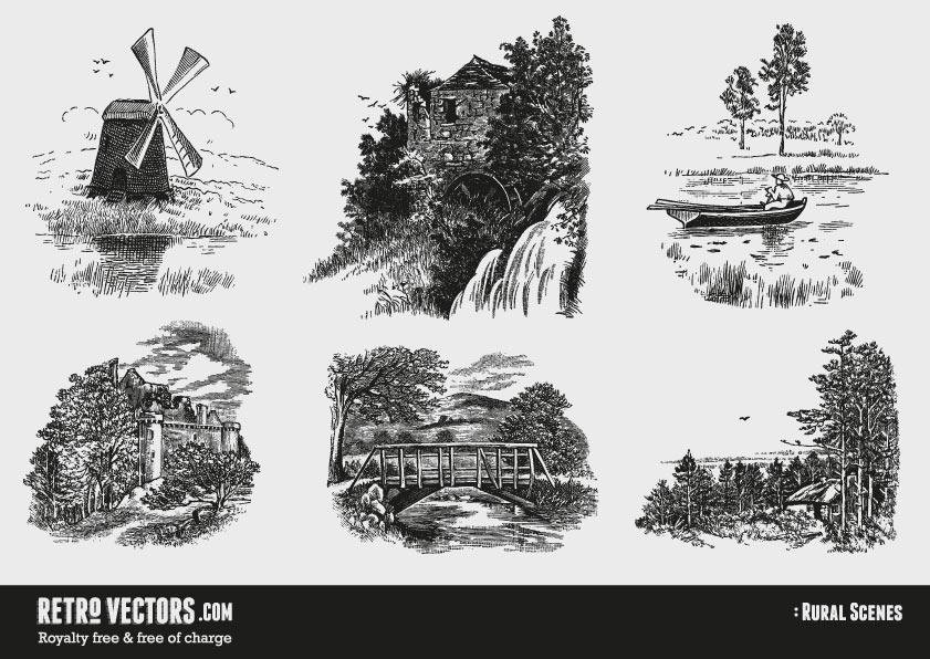 Free Countryside Vectors | Vintage Vectors