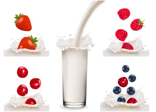 free Fruit Milk vector 03