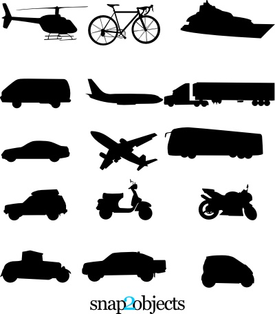 Free Means of Transportation Vector Silhouettes