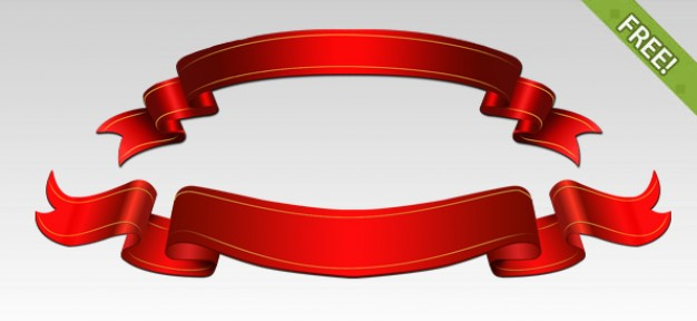 Free PSD Red Ribbons  PSD file | Free Download