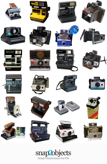 Free PSDs of Vintage Poloraids Cameras