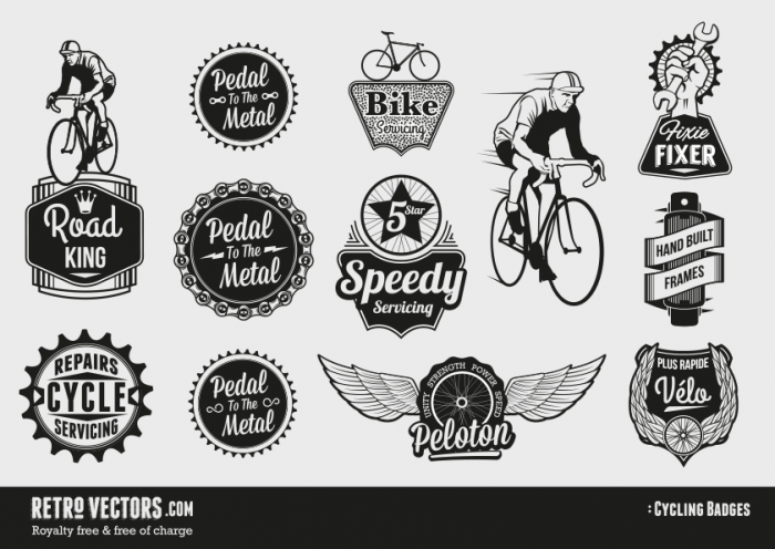 Free Retro Vector Cycling Badges