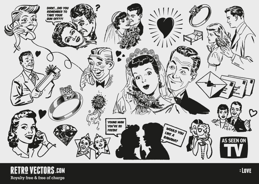 Free '50s Love themed clipart | Vintage Vectors