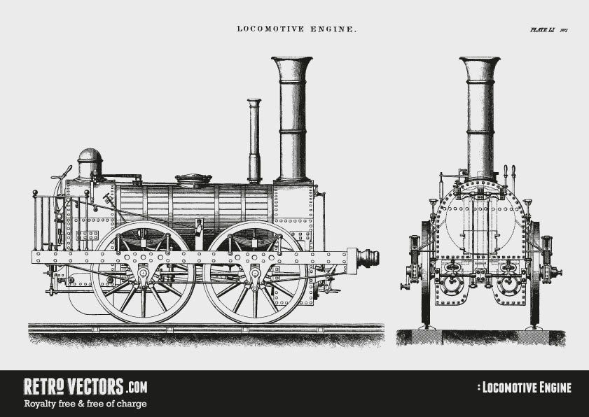 Free Steam Train Vector | Vintage Vectors