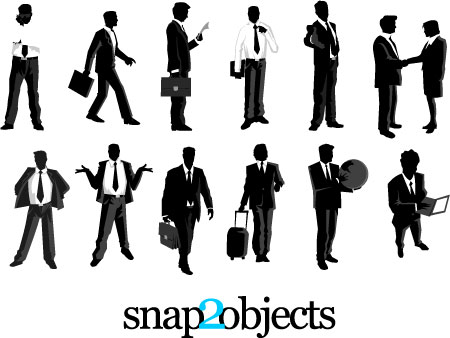 12 Free Vector Businessmen Silhouettes Pack 03