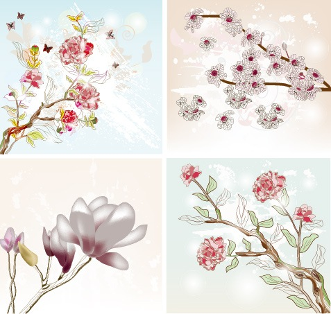 free vector Exquisite with Flowers 01