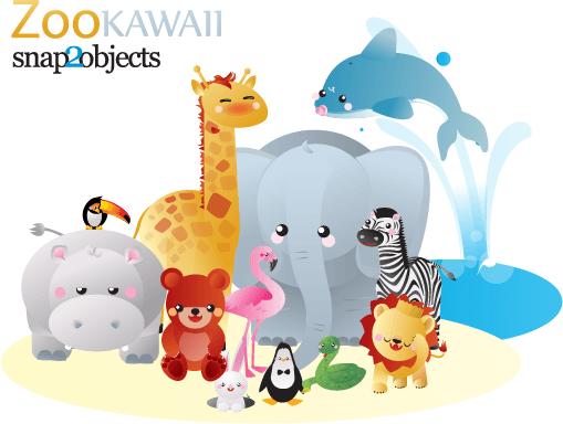 12 Free Vector Kawaii Zoo Animals