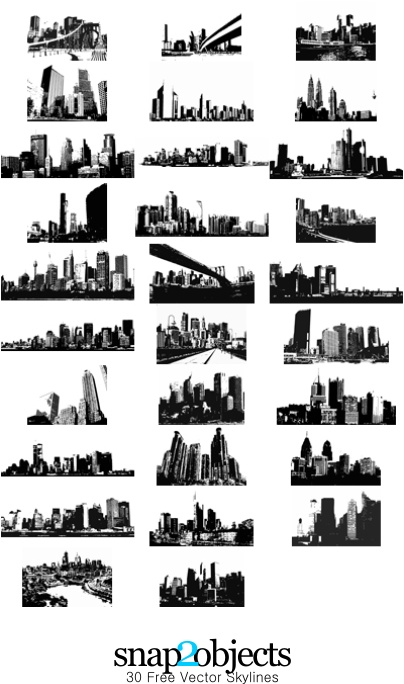 30 Free Vector Skylines: Vector Pack 03