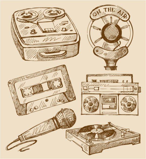 free vector vintage Recorder, Microphone